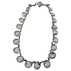 """15"""" Sterling Silver Rock Crystal Rivere Necklace"""