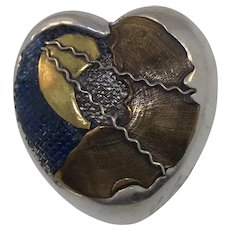 Artisan Sterling Silver Heart Abstract Pin