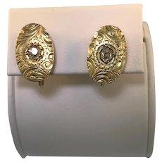 10k Yellow Gold Art Noveau Engraved Earrings