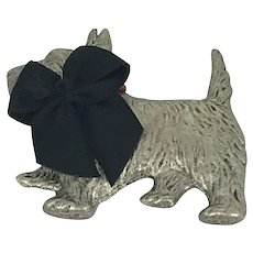 Costume Silver Plate Scotty dog pin