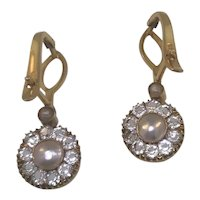 1900's 12ct Mother of Pearl Paste Earrings