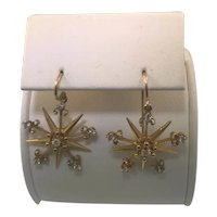 1940's Diamond and Yellow Gold Star Dangle Earrings