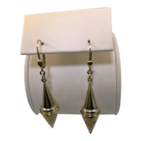 14k Yellow Gold Elongated Cone Design Drop Earrings