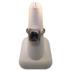 14k White Gold Mystic Topaz With Diamonds Ring