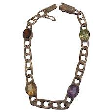 Sterling Open Link Semi Precious Stone Bracelet