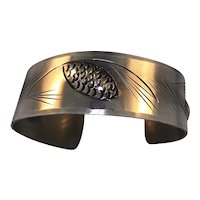 Sterling Cuff With Leaf Design