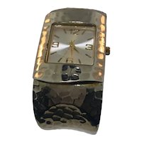 Silver Plated Hammered Cuff Ladies Watch