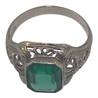 14k White Gold Antique Mounting With Green Glass Stone