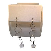 Sterling Teardrop Earring With Crystal Faceted Briolette