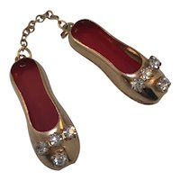 Vintage Goldplated Ballet Flats with Crystals dangling from a Chain