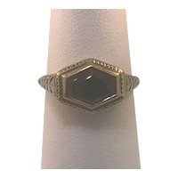 14k Yellow Gold Vintage Synthetic Blue Sapphire