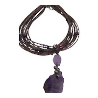Carved Amethyst Raw And Smooth Irregular Shaped Pendant Necklace