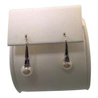 18k White Gold Freshwater Pearl and Amethyst Earring