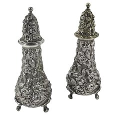 Pair of Stieff sterling repousse salt and pepper shakers