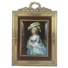 French enamel portrait of woman in formal attire