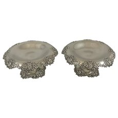 Pair Fancy Tiffany Sterling Compotes 1902 to 1907