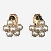 14k Yellow Gold and Pearl Cluster Earrings