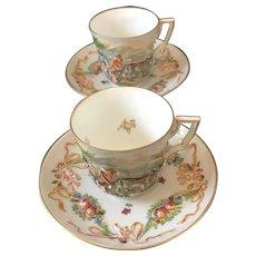 Pair of Antique Capodimonte Demitasse Cups and Saucers