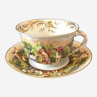 Antique Capodimonte Coffee Cup and Saucer