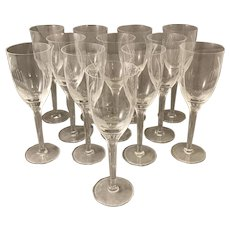 Set of 12 Lalique Angel Tall Stemware Wine Glasses
