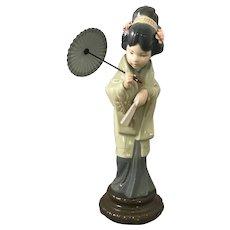 Lladro Figure of Geisha Girl With Umbrella