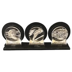 Lalique 1992 Albertville Olympic Trio of Paperweights on Lucite Stands