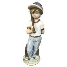 "Lladro Figure ""Can I Play"" #7610 of a Young Boy With His Baseball Bat"