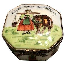 """Limoges Trinket Box """"8 Maids a Milking"""" By La Gloriette"""