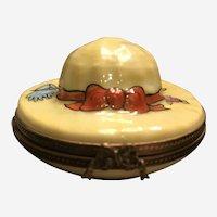 """Limoges Trinket Box """"Straw Hat"""" Signed Limoges"""