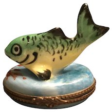 Limoges Trinket Box Featuring A Robust Green And Yellow Fish Atop The Lid