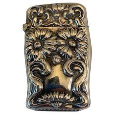 Art Nouveau Sterling Match Safe With Floral Design