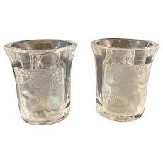 Pair of Lalique Shot Glasses Inset Cherub Design