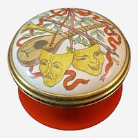Halcyon Days Enamel Box Depicting Comedy and Tragedy