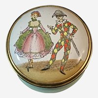 Halcyon Days Enamel Box Depicting Dancers in 18th Century Dress.