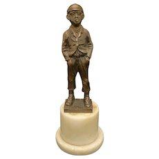 Bronze Figure of a Young Boy Jauntily Smoking Circa 1920