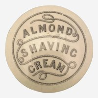 "Ironstone Black and White Transfer Victorian Pottery Jar ""Almond Shaving Cream"""