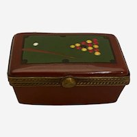 "Limoges Trinket Box "" ln The Form of a Billiards Table"""