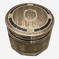 Enameled Sterling Top Glass Dresser Jar