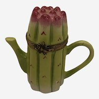 Limoges Trinket Box - Modeled as an Asparagus Form Coffee Pot