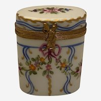 Limoges Trinket Box - Oval Shape With Intricate Floral Designs