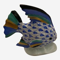 Herend Angelfish Decorated in Blue Fishnet