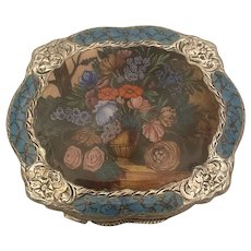 Fabulous Floral Enameled Sterling Compact C. 1920