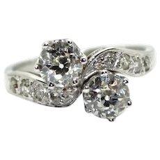 "18K White Gold (750/000) and Old Cut Diamonds ""toi et moi"" Ring"