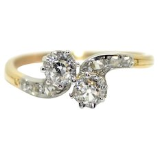 "18K Gold (750/1000), Platinum and Old Cut Diamonds ""Toi et Moi"" Ring, circa 1900"