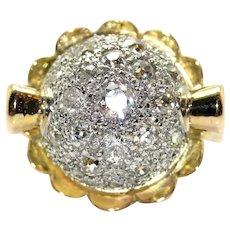 18K Gold (750/1000) and Diamonds Ring, circa 1950