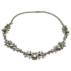 14K Gold (585/1000), Silver and Rose Cut Diamonds Antique Flowers Necklace, circa 1850.