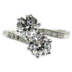 """18 K gold (750/000) and old cut diamonds """"toi et moi"""" ring"""