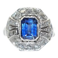 Art Deco Diamonds and Sapphire Ring, circa 1920