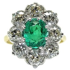 18kt Gold Pompadour Ring, Colombian Emerald and Diamonds