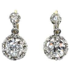 18K Gold (750/1000), Platinum and Old Cut Diamonds Antique Dormeuses Earrings, circa 1910